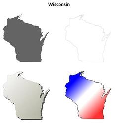 Wisconsin outline map set vector