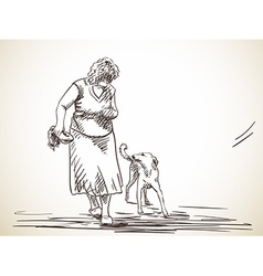woman and dog vector image