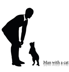 Business man silhouette with a cat vector