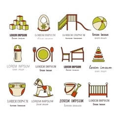 Child and baby care center color thin line icons vector