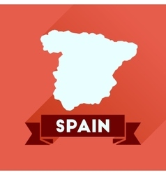 Flat icon with long shadow spain map vector