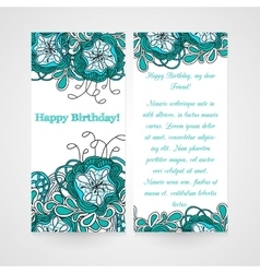 Card with abstract hamd drawn flower vector