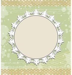 Vintage round frame on floral background vector image