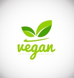 Vegan product logo icon design vector
