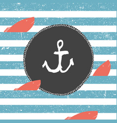 marine background blue lines pattern red fish vector image