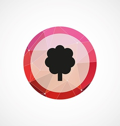 Tree circle pink triangle background icon vector
