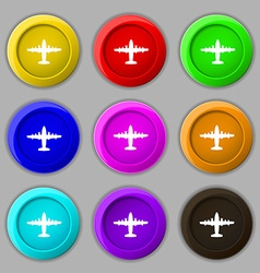 Aircraft icon sign symbol on nine round colourful vector