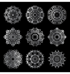 Silver mandala set vector