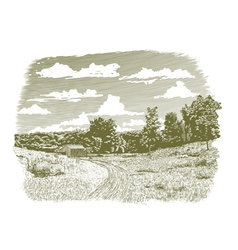 Woodcut goodnight farm vector