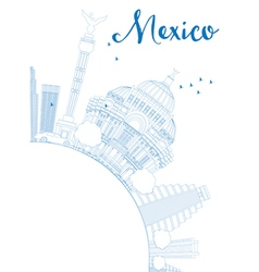 Outline mexico skyline with blue landmarks vector