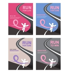 Sport people with running pink ribbon breast vector