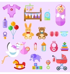 Waiting for a baby all the newborn girl stuff vector
