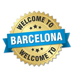 Barcelona 3d gold badge with blue ribbon vector