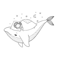 a little girl is sleeping on a whale cozy bed vector image