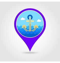 Anchor pin map icon summer vacation vector