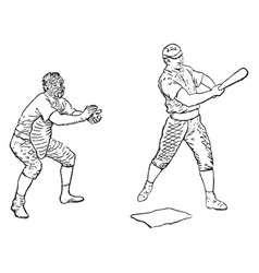 Batter and the catcher vintage vector