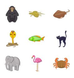 Beautiful animal icons set cartoon style vector