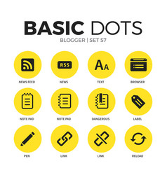 Blogger flat icons set vector