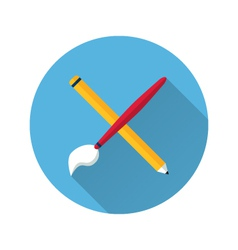 Brush and pencil icon vector
