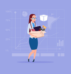Business woman hold box with office stuff search vector