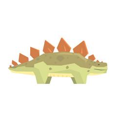 cartoon stegosaurus dinosaur character jurassic vector image