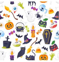 cartoon style halloween pattern vector image