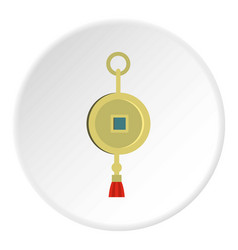 Chinese coin of luck icon circle vector