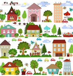 Collection a cartoon houses and trees for you vector image