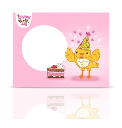 Cute happy birthday postcard template with a bird vector