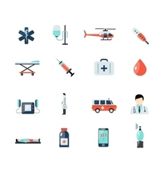 Emergency Paramedic Icons Set vector image vector image