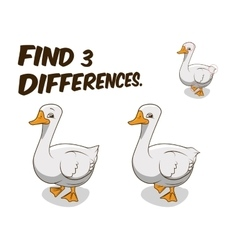 Find differences game goose vector image