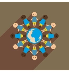 Flat web icon with long shadow race earth vector