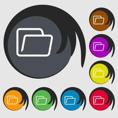 Folder icon sign Symbol on eight colored buttons vector image vector image