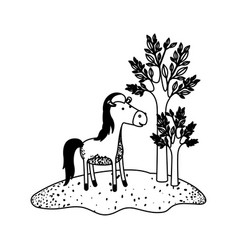 Horse cartoon next to the trees in black sections vector