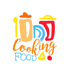 Logo template for cooking food club with kitchen vector