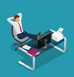 Office employee is resting flat 3d vector