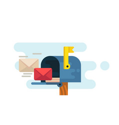 Opened mailbox with regular mail inside vector