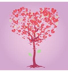 Pink heart tree vector