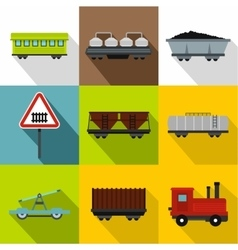 Railway transport icons set flat style vector image