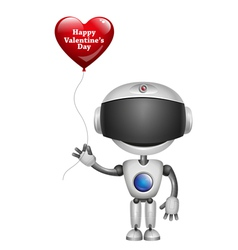 Robot With Balloon Heart vector image vector image