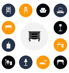 set of 13 editable furnishings icons includes vector image vector image