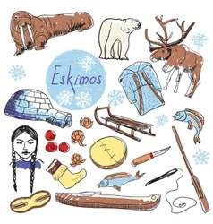 Set of tourist attractions eskimos vector