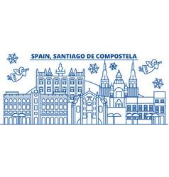 Spain santiago de compostela winter city skyline vector