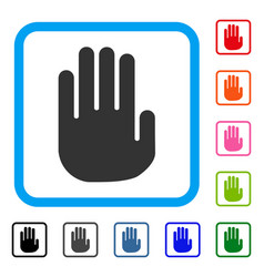 stop hand framed icon vector image