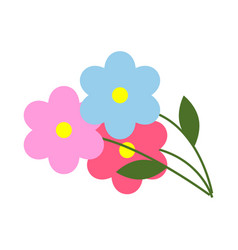 Three flowers with green leaves in cartoon style vector