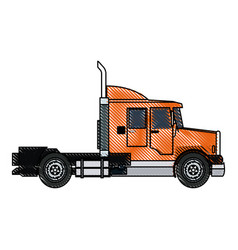 Truck cab vehicle commerce outline vector
