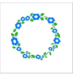 Vintage blue Flower ring frame decoration vector image