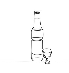 Vodka bottle and glass isolated vector