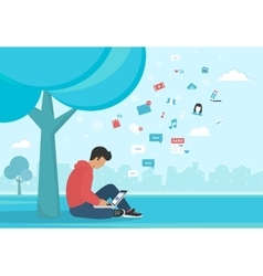 Young man sitting in the park under a tree and vector image