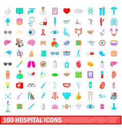 100 hospital icons set cartoon style vector